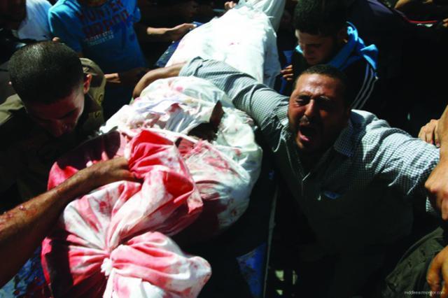 Ett av alla offer för Israel brutala krigshandlingar.