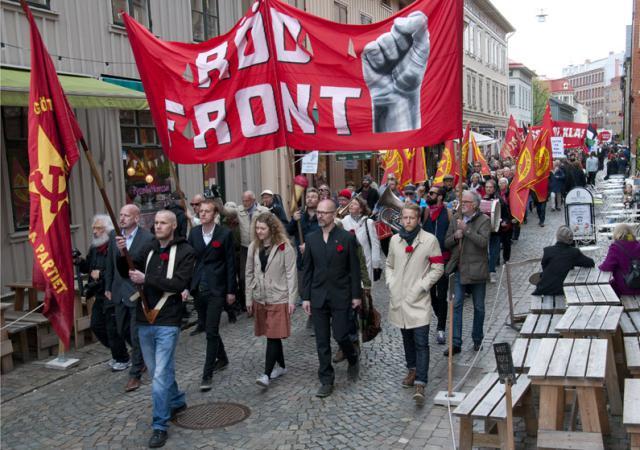 Röd front i Göteborg.