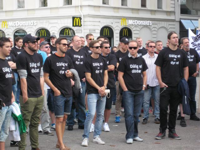Elektrikernas protestmöte i Malmö.