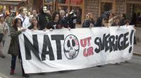Natomotstånd på demonstrationen i Stockholm.
